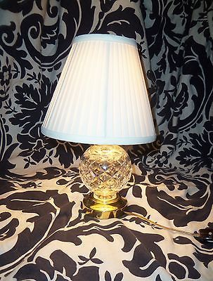 Waterford Glandore Crystal Small Desk Vanity Lamp Light With Pleated Shade