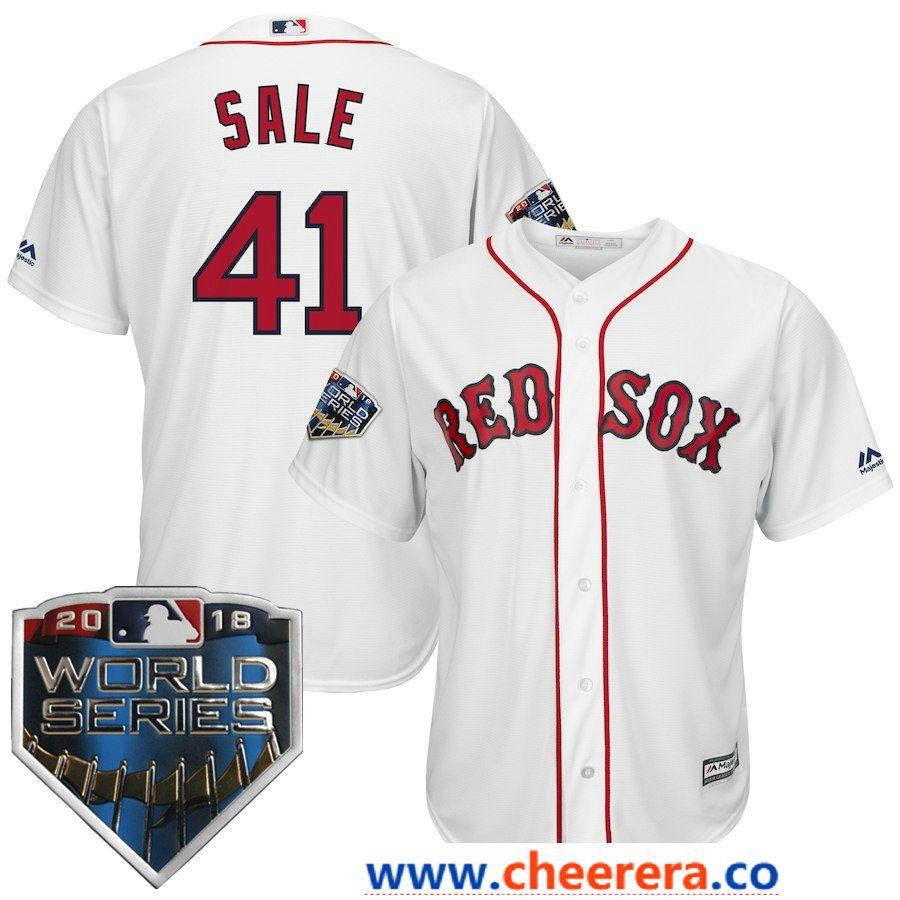 1abd67623  41 Chris Sale Men s Boston Red Sox Majestic White 2018 World Series Cool  Base Player Jersey