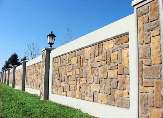 Boundary wall design for home google search ideas for for Exterior stone wall house design