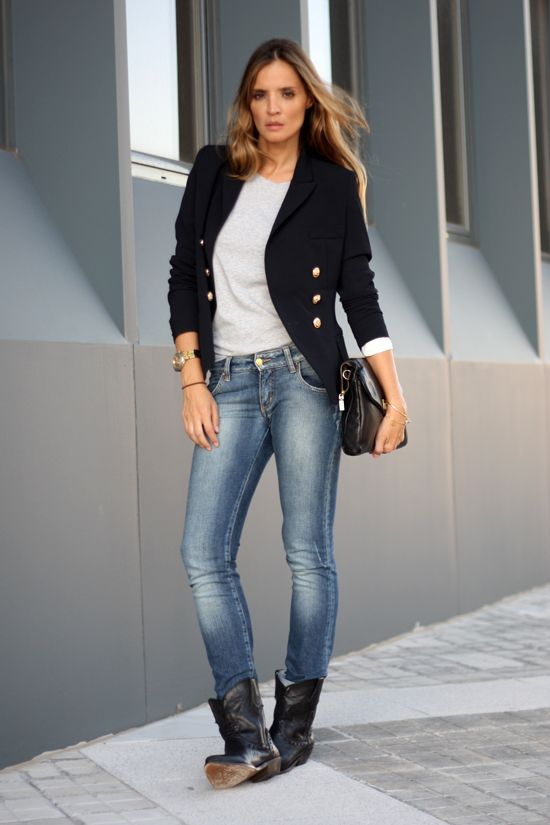 sale retailer 2bc4c e25a0 Navy Blazer with metallic buttons on coat and detail on sleeve cufs –  paired with a grey tee and aged jeans for the perfect Street Style.   Lady  Addict en ...