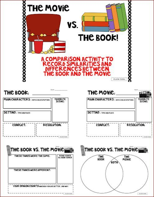 Comparing Movies To Books Free Worksheets Reading Classroom