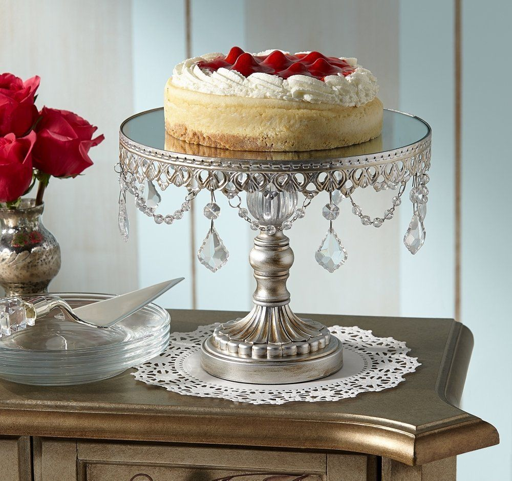 Antique Silver Wedding Cake Stand Beaded Vintage Shabby Chic Style Pedestal Tier In Home Garden Kitchen Dining Bar Dinnerware Serving Dishes