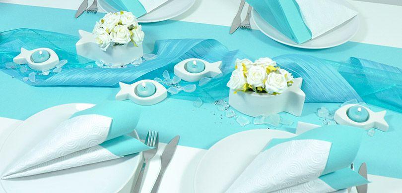 Moderne Tischdeko In Turkis Mit Fischen Zu Kommunion Und