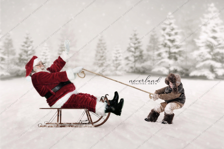 2PACK Santa's Sleigh / Christmas Background for Etsy