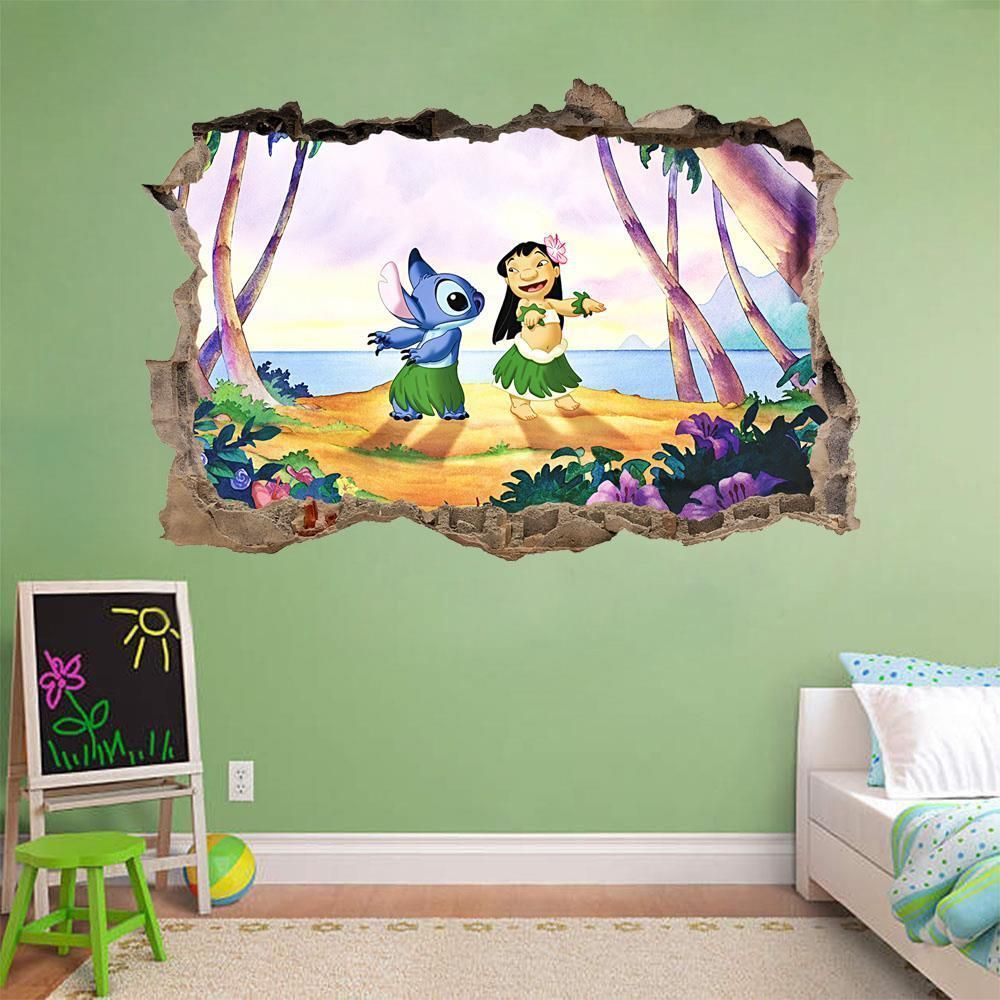 Lilo Stitch Smashed Wall Decal Graphic Wall Sticker Decor Art Disney H380 Disney Room Decor Disney Wall Stickers Disney Home Decor