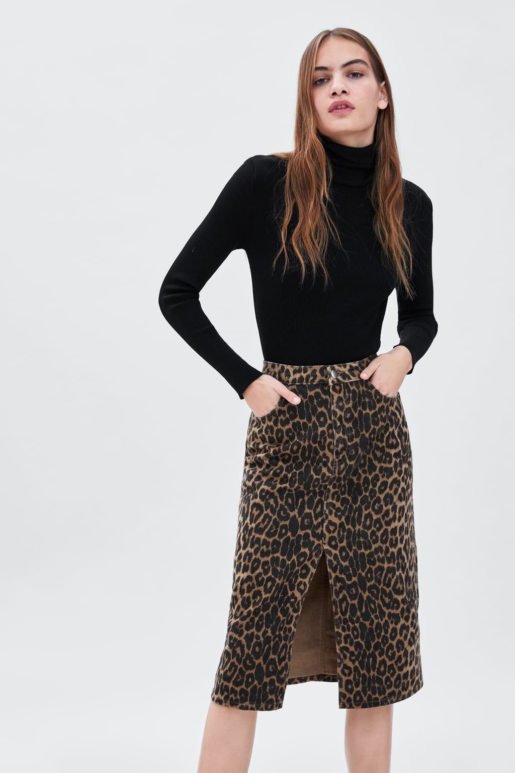 26227cb3 Image 2 of LEOPARD PRINT SKIRT from Zara | Sewing in 2019 | Leopard ...