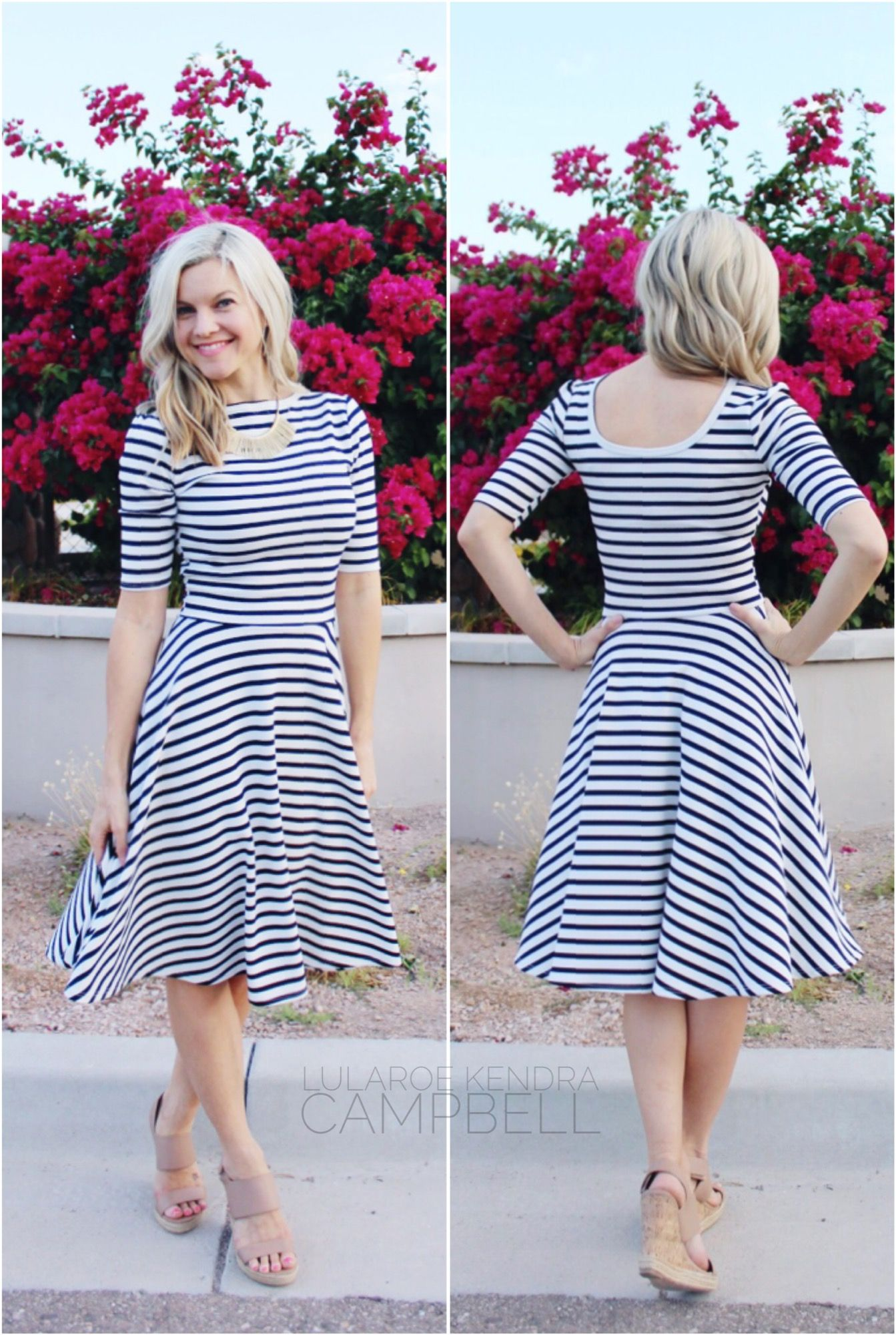 3970c602f2f LuLaRoe Nicole dress worn backwards! This creates a boat neck and a scoop  back. Click to shop LuLaRoe and for more style inspiration and giveaways!