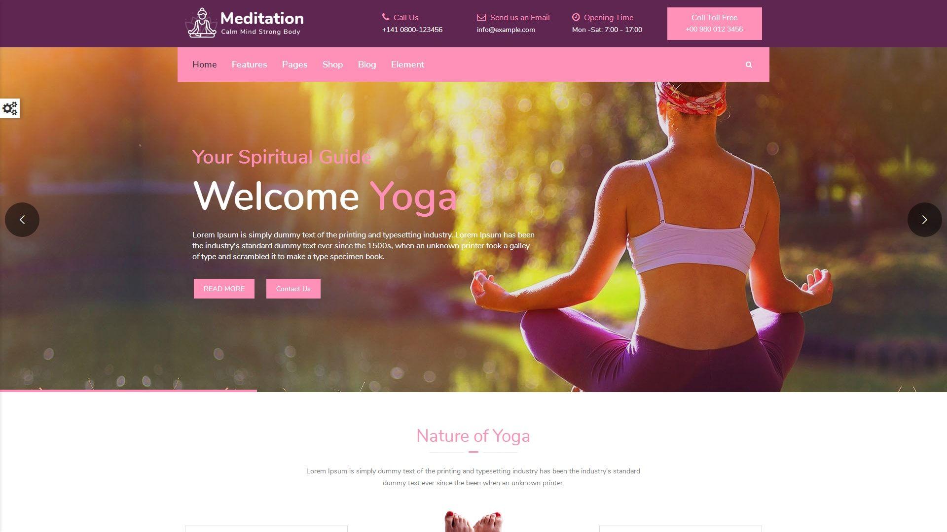 Meditation - Yoga, Fitness & Meditation Bootstrap Website Template ...