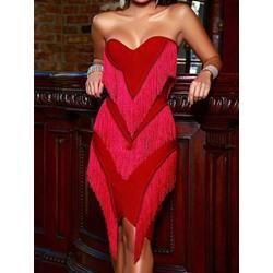 f621a5219c84 #EnvyWe #Shoespie - #Shoespie Knee-Length Off Shoulder Tassel Womens  Bodycon Dress