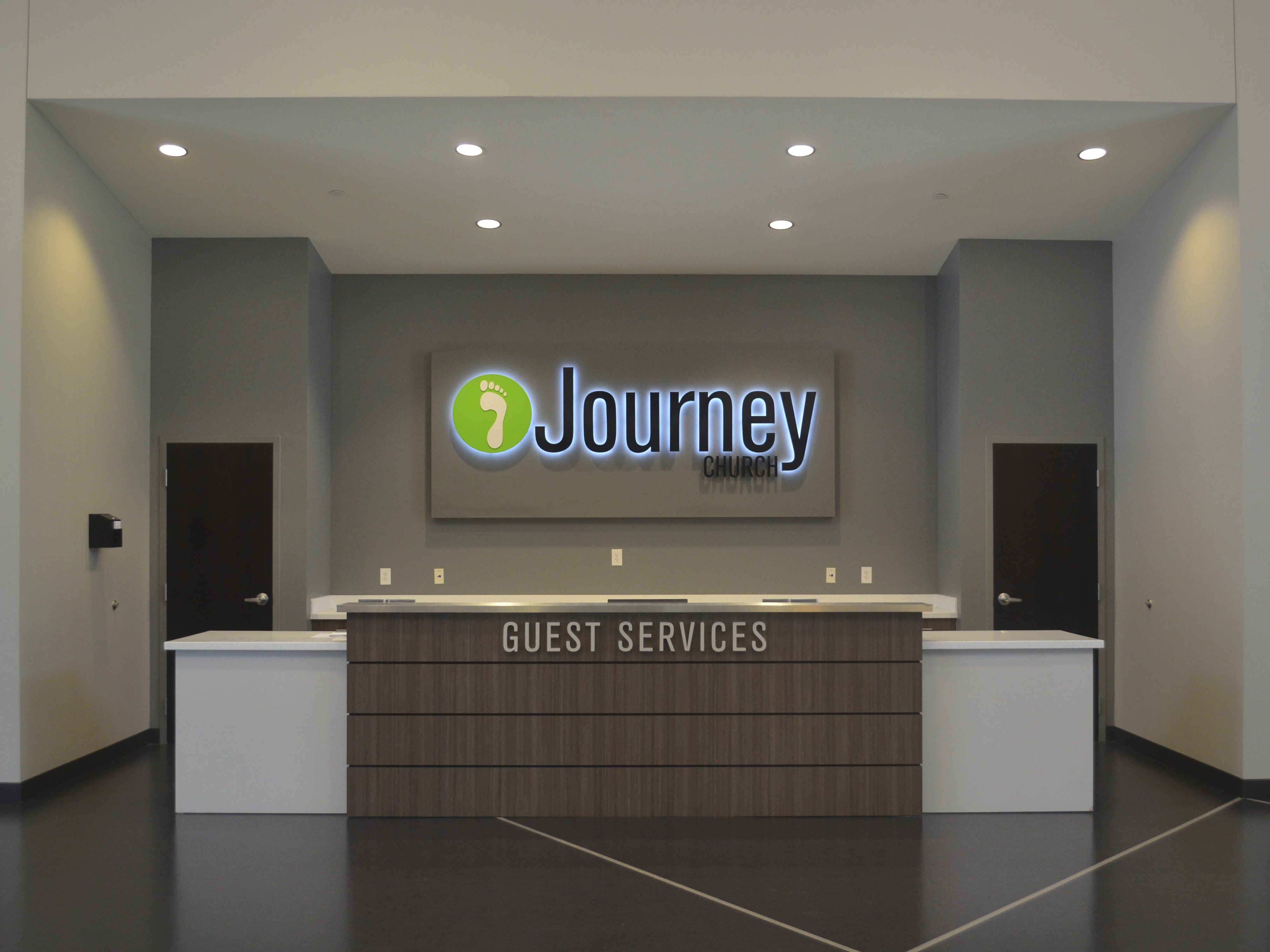 Journey Church Lobby Sign For Information Desk