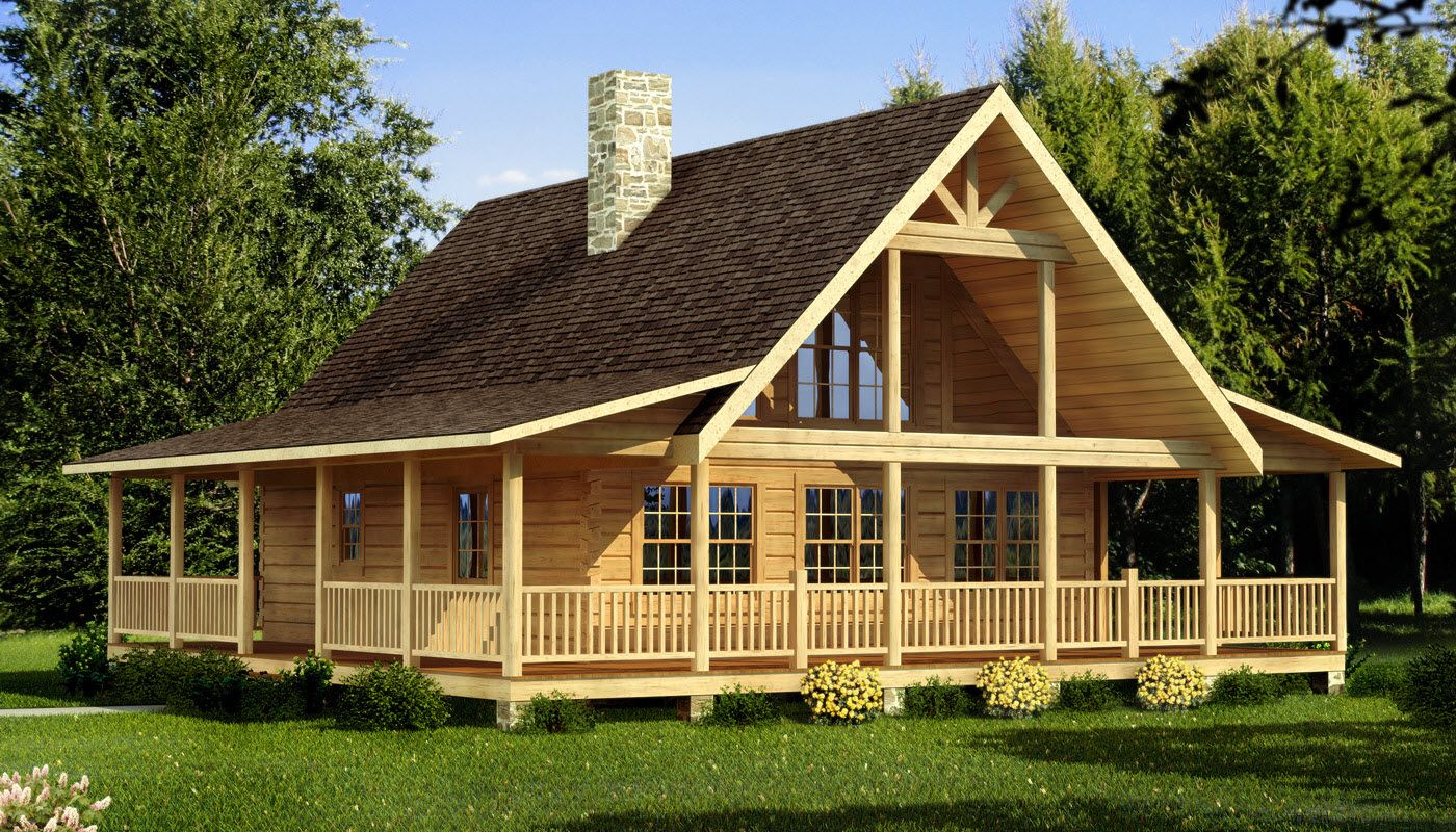 Carson log home plan southland log homes cabins for Log cabin house plans with wrap around porches