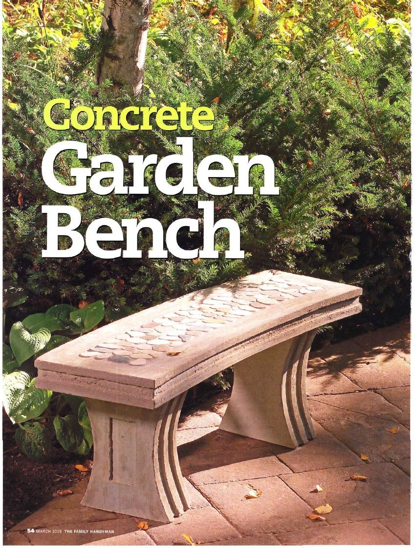 Instructions On Making A Concrete Garden Bench From The Family Handyman  Magazine