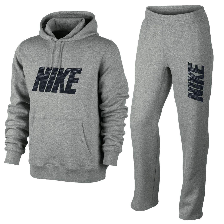 Nike Mens Club Grey Hooded Fleece Tracksuit Hoody Top Jogging Bottoms New