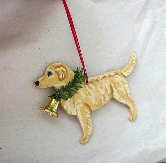 Hand Painted Golden Retriever Light Color Wood Christmas Ornament