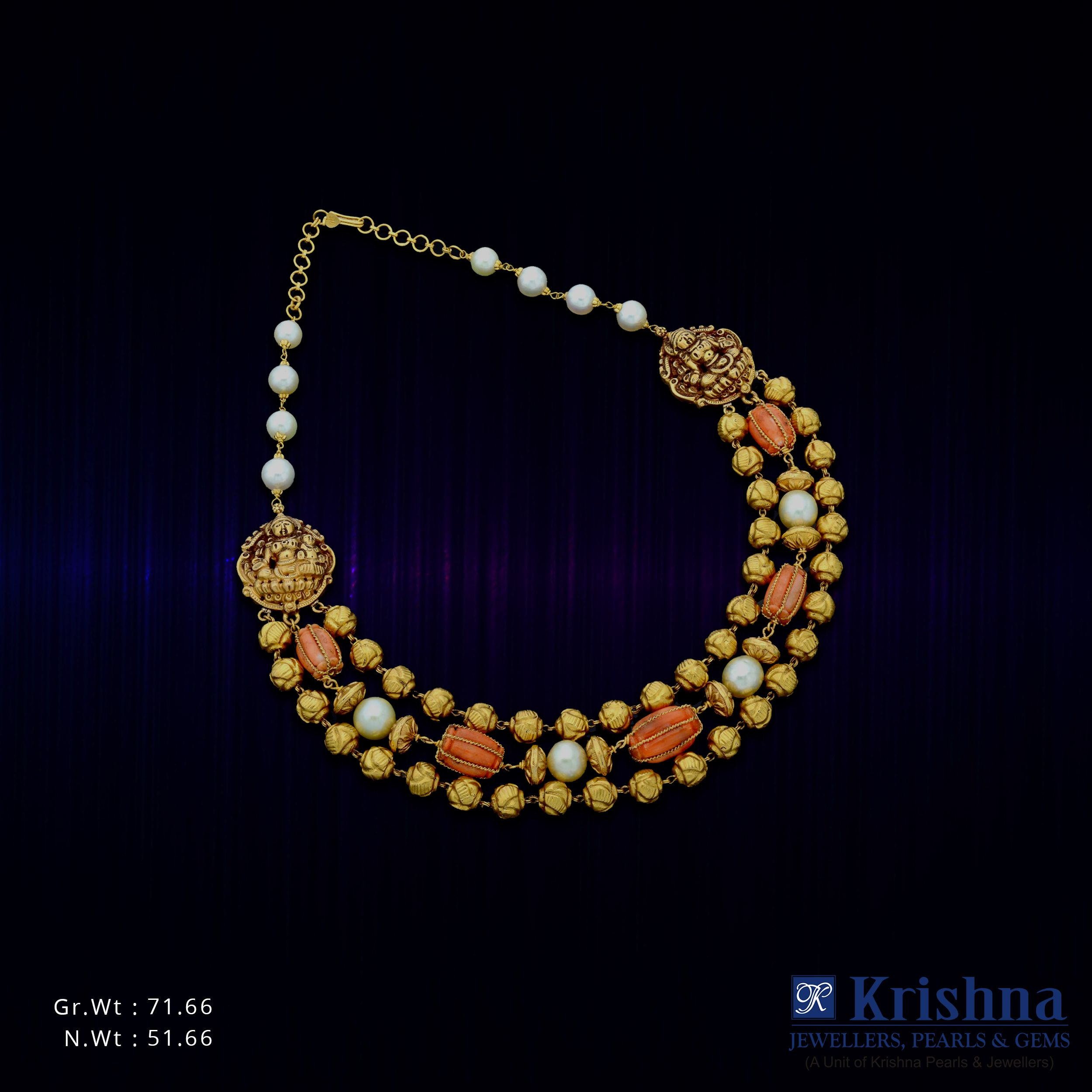 Gold and pearl temple jewellery that gives any traditional outfit an