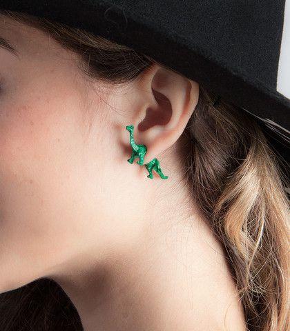 Green Dinosaur Double Sided Stud Earrings Tomboy Studs Pierced