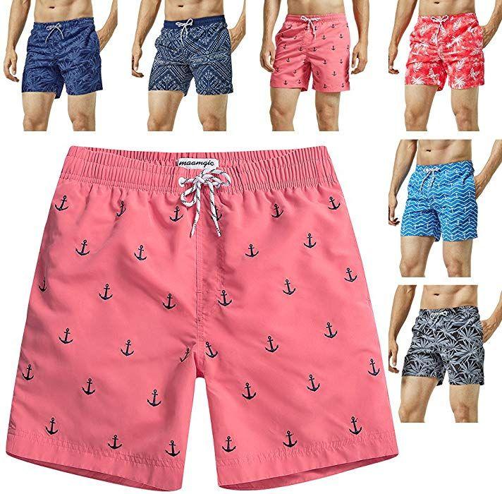 d2f7d2c9b51 MaaMgic Mens Quick Dry Anchor Swim Trunks with Mesh Lining Swimwear Bathing  Suits, Red-glm009, Medium   Amazon.com