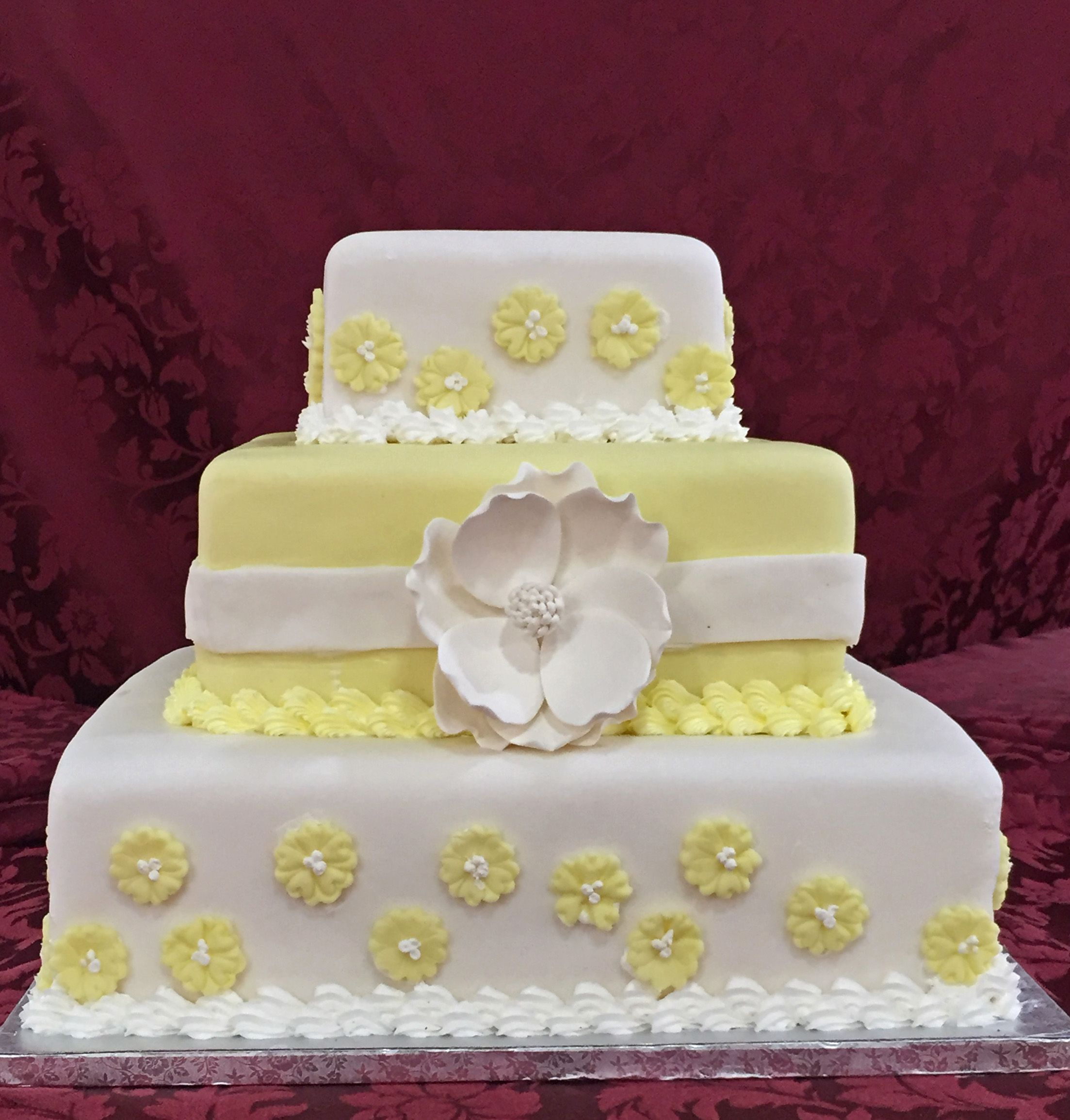 wedding cake, three tier with fondant icing. The Patisserie ...