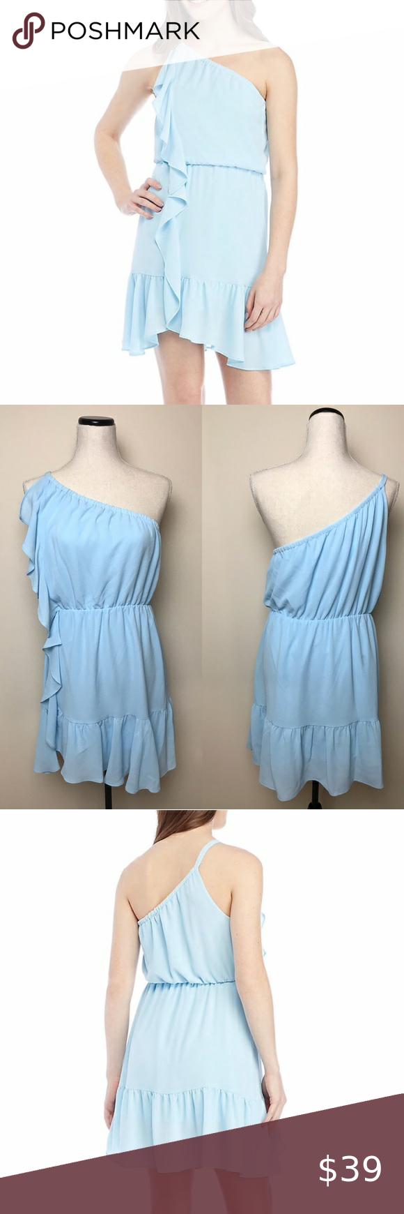 Kaari Blue One Shoulder Ruffle Baby Blue Dress One Shoulder Ruffle Baby Blue Dress Size L 17 5 Inches Arm Baby Blue Dresses Blue Dresses Dress Size Chart Women [ 1740 x 580 Pixel ]