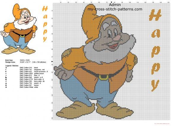 Happy Dwarf from Disney Snow White and the Seven Dwarfs cross stitch pattern