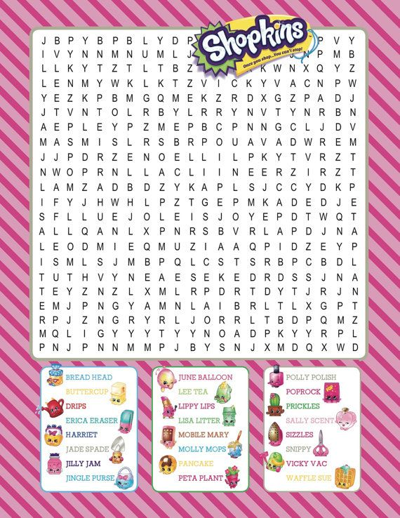 Beautiful Shopkins Printable Word Search Digital Download Por Bee3Shop More