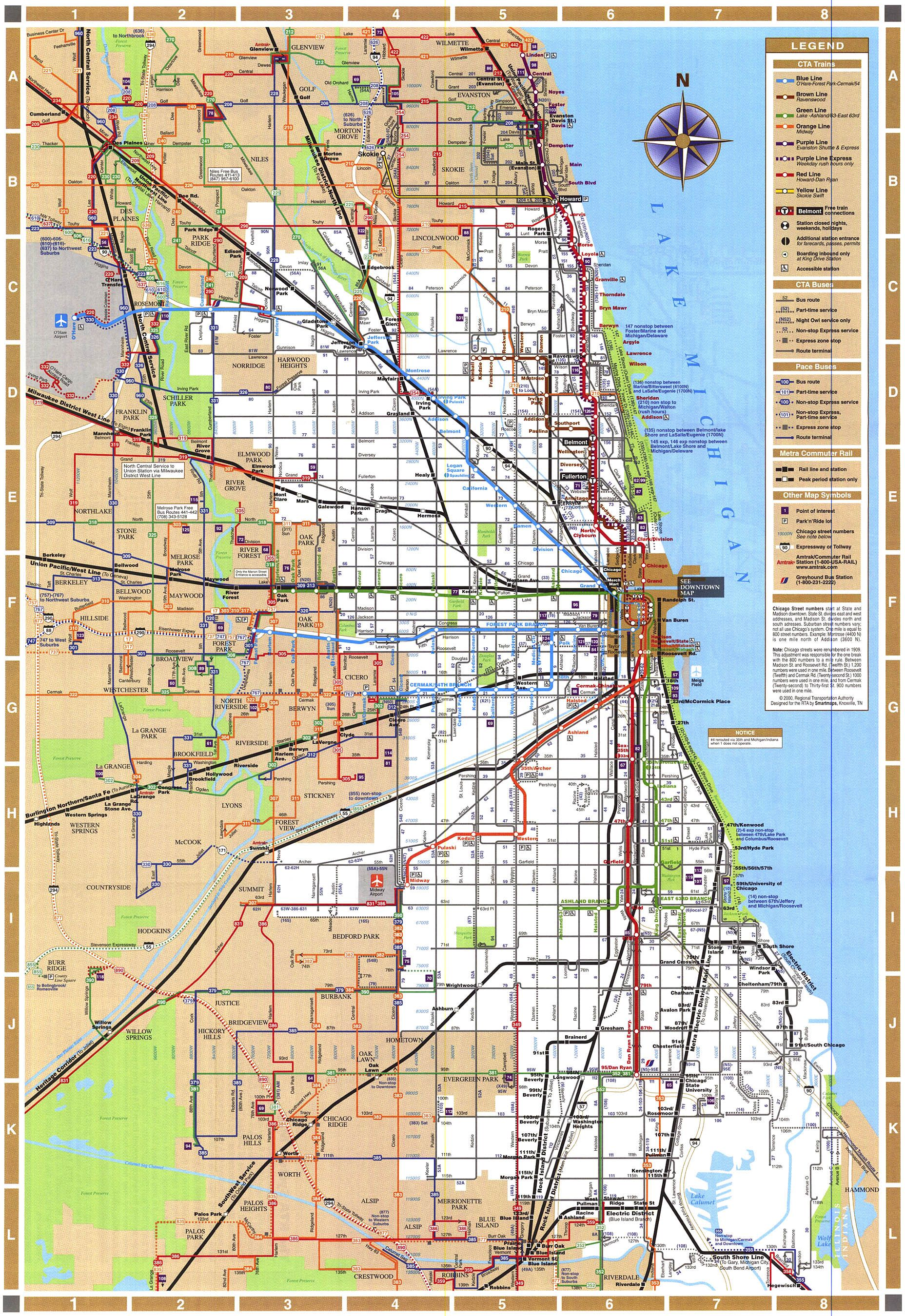 Train In Chicago Map.Chicago Train Map Chicago Illinois Mappery Maps Charts