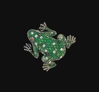 Emerald and Diamond Frog brooch