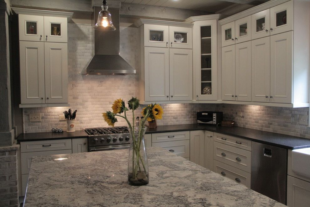 Great Cold Spring Granite For A Traditional Kitchen With A Linen Kitchen Cabinets  Farmhouse Sleek Gray Open And Custom Cabinets By Marsh Kitchens (99u2026
