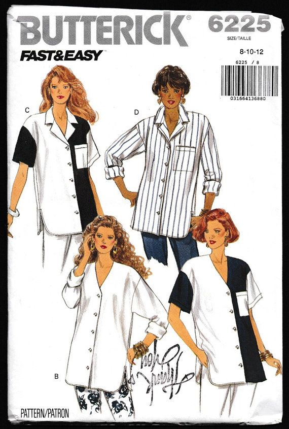 Butterick 6225 Fast and Easy Misses\' Misses-Petite Button-down Loose ...