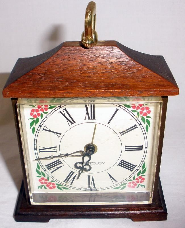 Vintage Westclox Miniature Wood Framed Alarm Clock Model ...