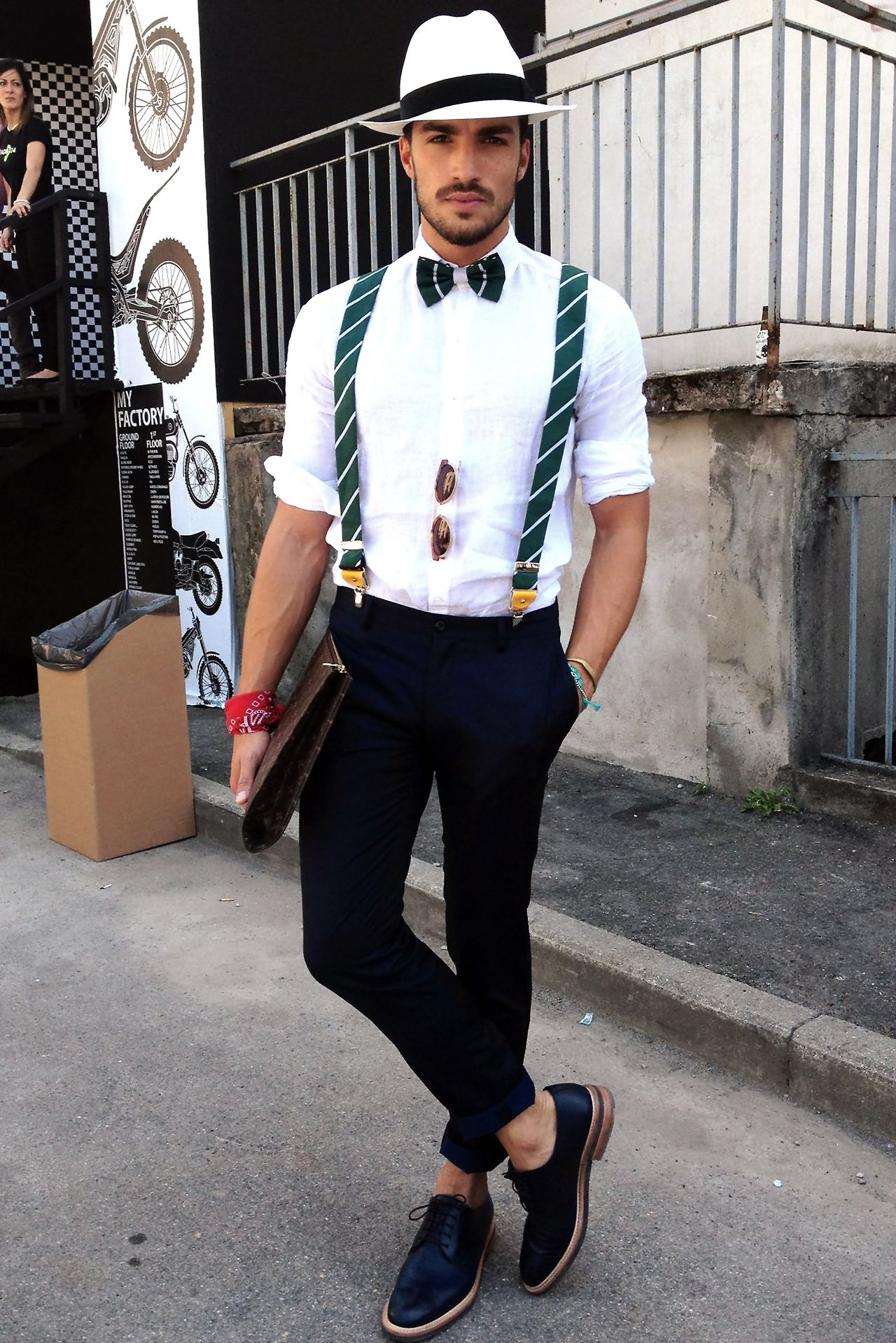 "Mariano Di Vaio - Pitti Uomo 84; one of the few times i'll repin a bow tie. and actually suspenders too because most of the time guys wear those ugly 1"" thin suspenders. wide suspenders are the way to go."