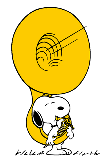 Snoopy With His Giant Sousaphone Smaller Snoopy Love Snoopy Snoopy Cartoon