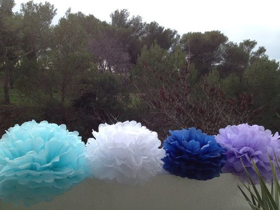 Set of 12 Pom Poms Decorations Paper Decors by pompomShouse, $25.00