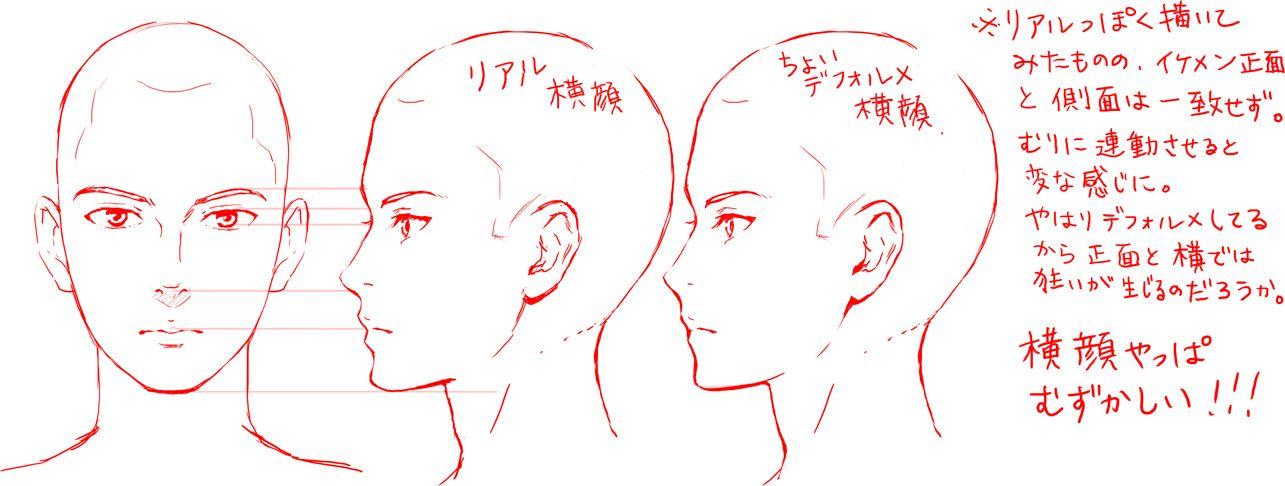横顔の描き方 イケメン編 描き方 イケメン 描き方 絵のデザイン
