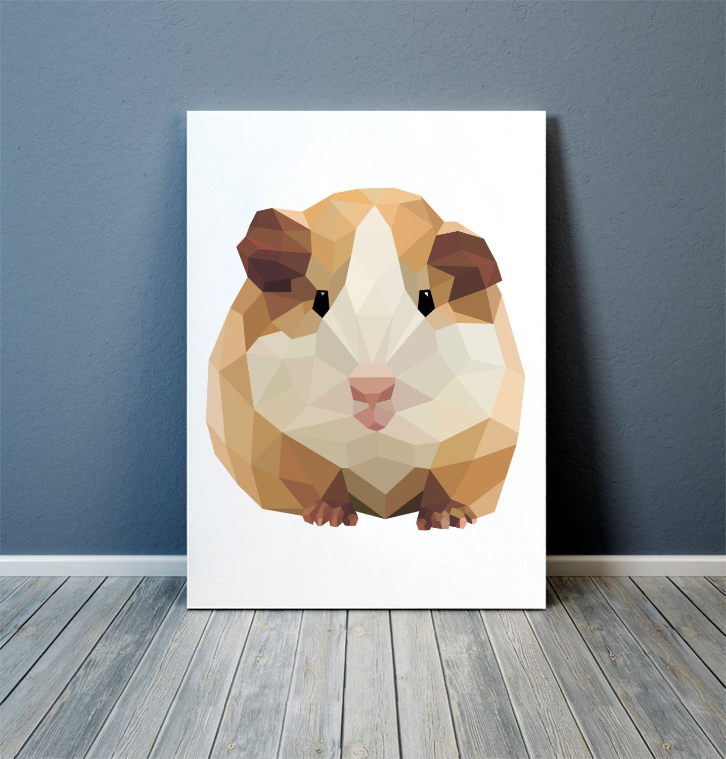 Guinea pig poster Colorful decor Animal art by animalgeometry