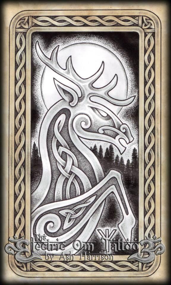 celtic knotwork stag spirit by villkat on deviantart celtic wood. Black Bedroom Furniture Sets. Home Design Ideas