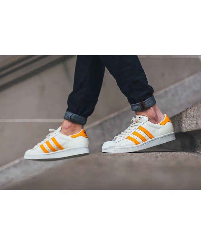 adidas superstar blanche et orange