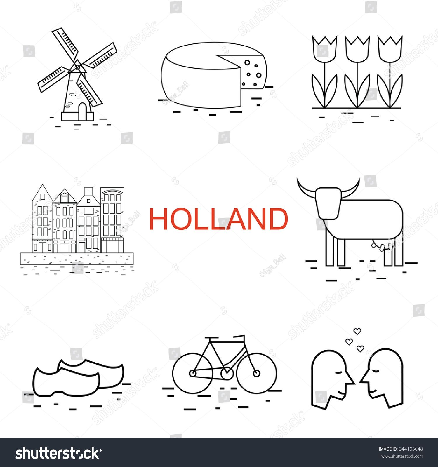 Vector Line Holland Icon Windmill Tulip Bike Clogs Dutch