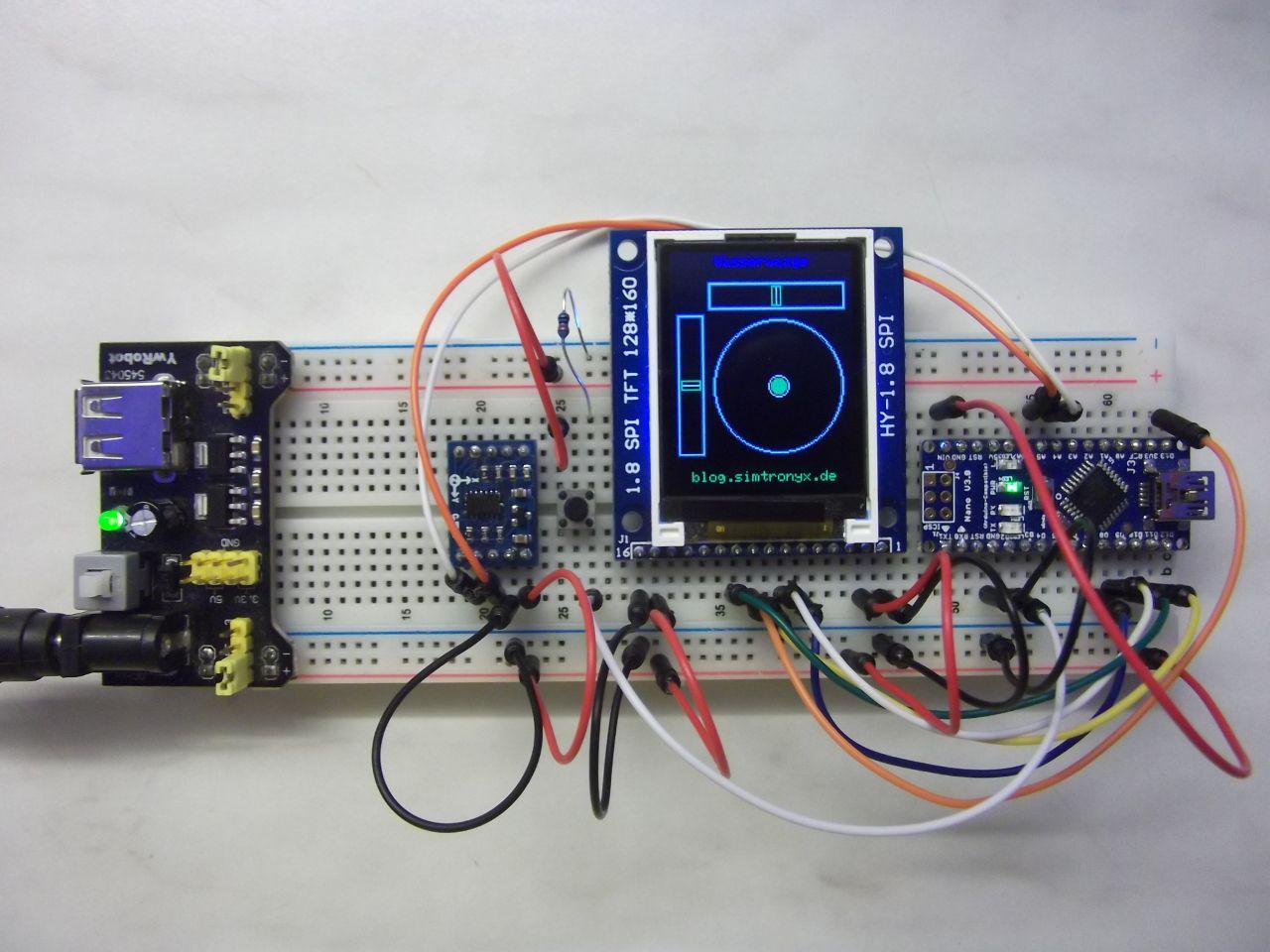 Digitale wasserwaage adxl tft hy spi und ein arduino