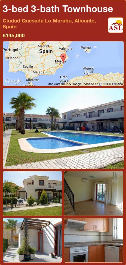 3-bed 3-bath Townhouse in Ciudad Quesada   Lo Marabu, Alicante, Spain ►€145,000 #PropertyForSaleInSpain