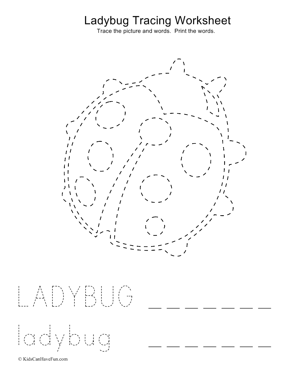 worksheet Tracing And Colouring Worksheets tracing ladybug picture and words worksheet love worksheet