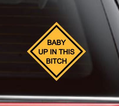 Baby Up In This Bitch Funny Car Truck Window Decal Sticker