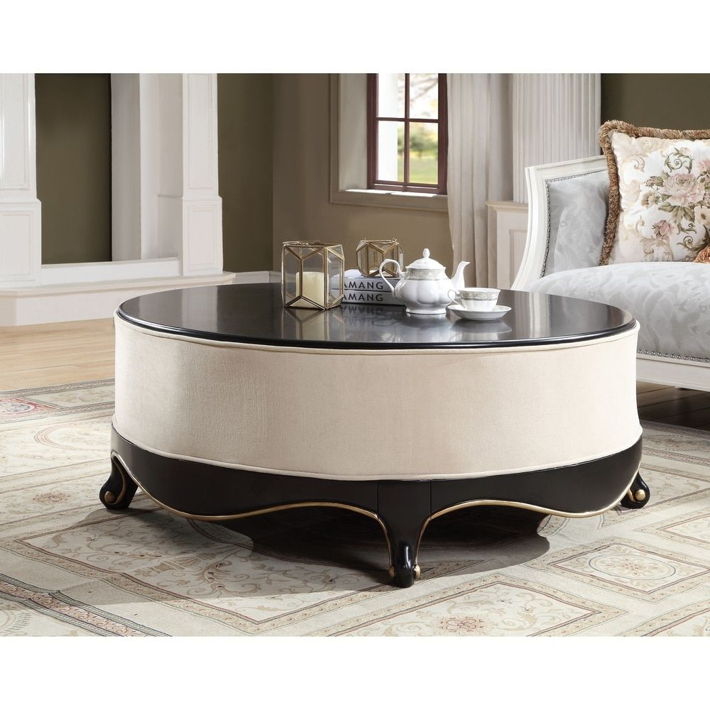 Round Wooden Cocktail Table With Fabric Center Brown And Cream Solid Wood Coffee Table Wooden Cocktail Table Coffee Table [ 1000 x 1000 Pixel ]