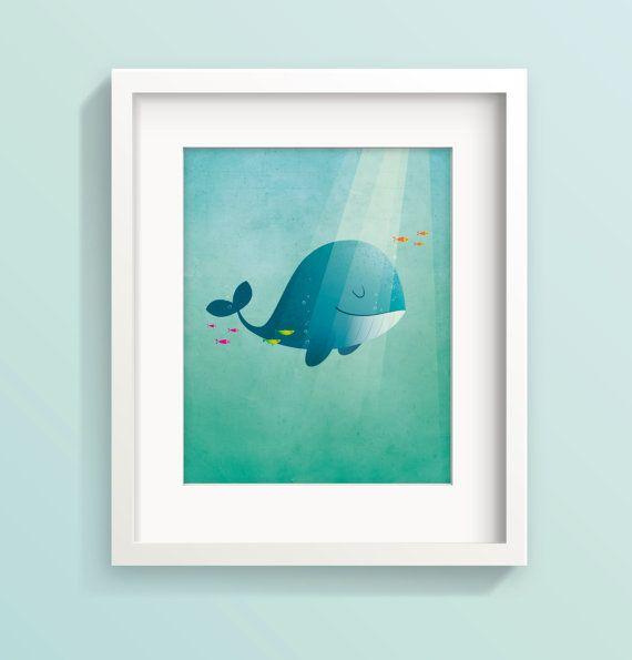 Whale nursery art Kids room decor Whale art by IreneGoughPrints