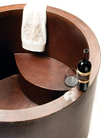 beautiful copper soaking tub lets you relax like a boss