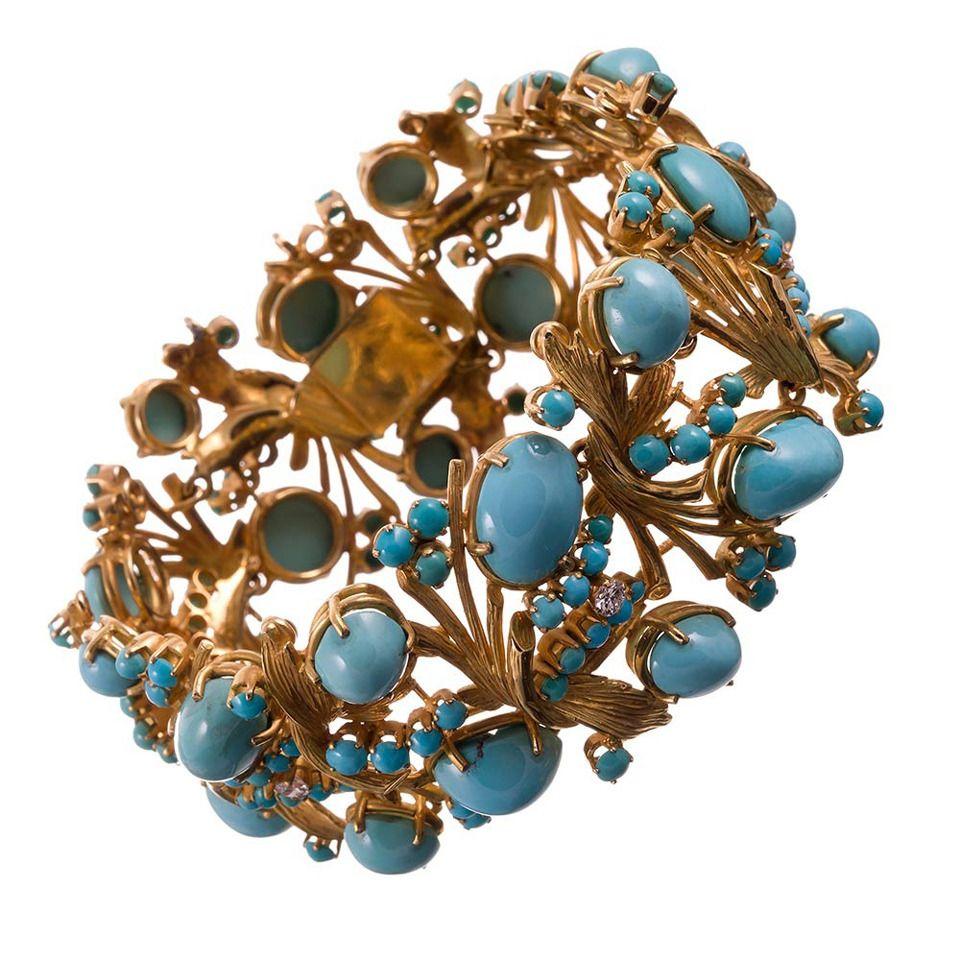 1960s Turquoise Diamond Textured Gold Bracelet | From a unique collection of vintage modern bracelets at https://www.1stdibs.com/jewelry/bracelets/modern-bracelets/