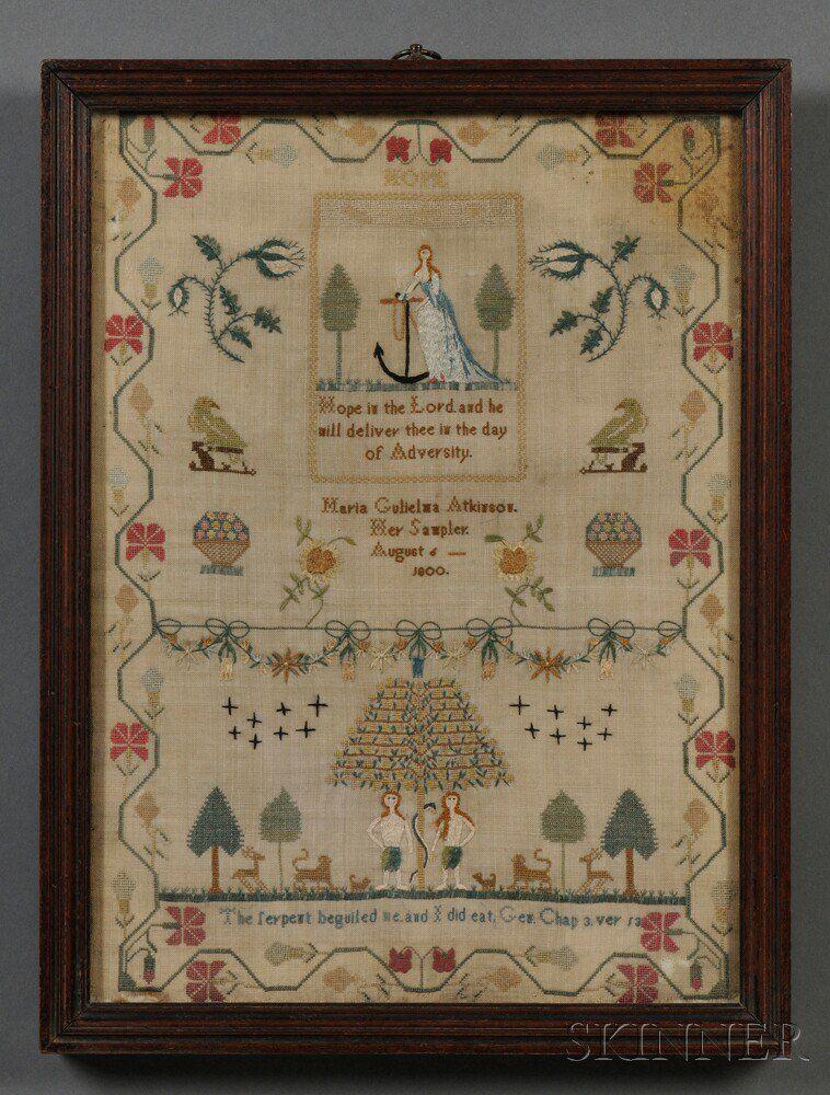 Needlework Pictorial Sampler | Sale Number 2710B, Lot Number 130 | Skinner Auctioneers
