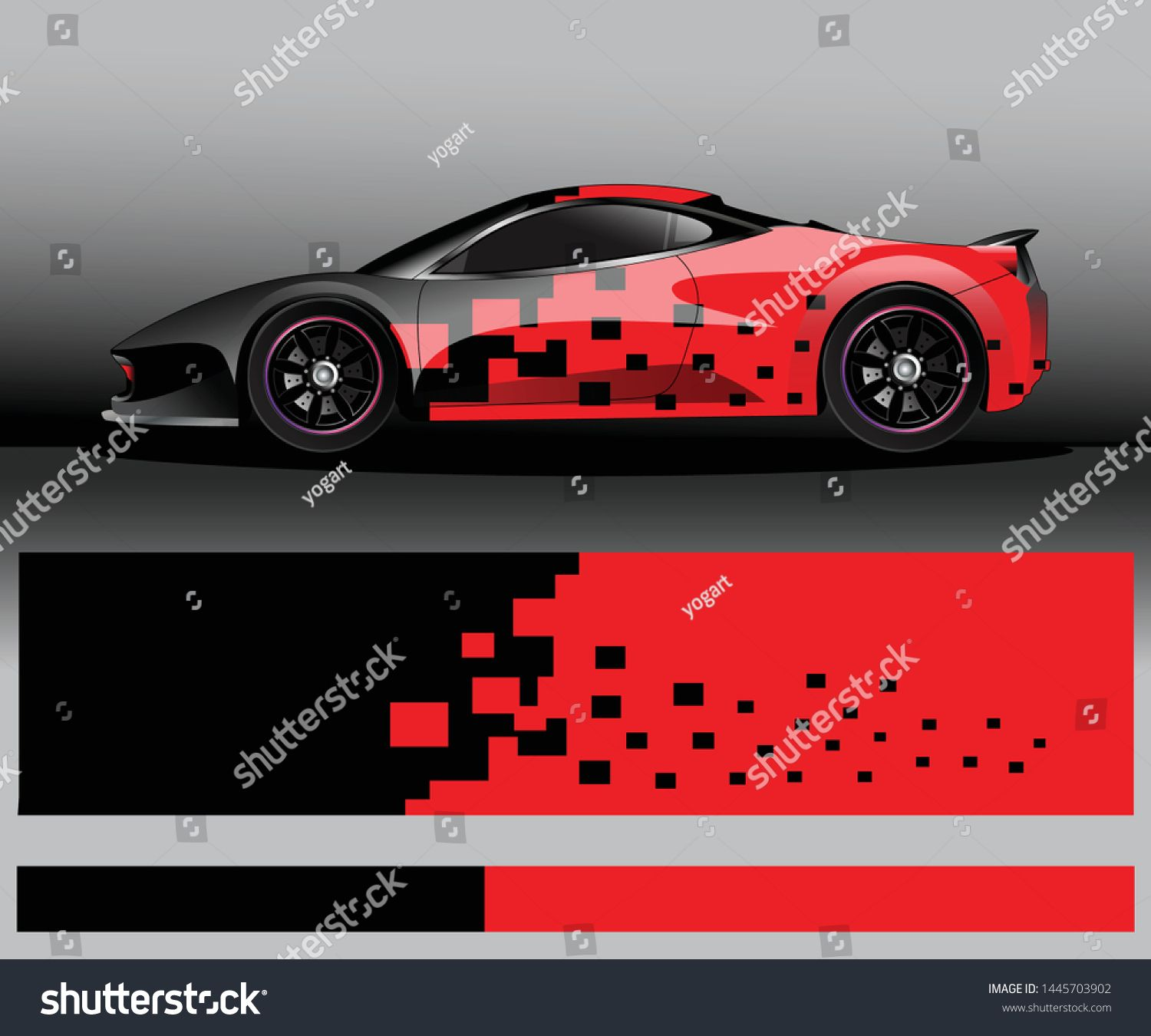 Sport Car Decal Graphic Wrap Vector Abstract Background Dengan