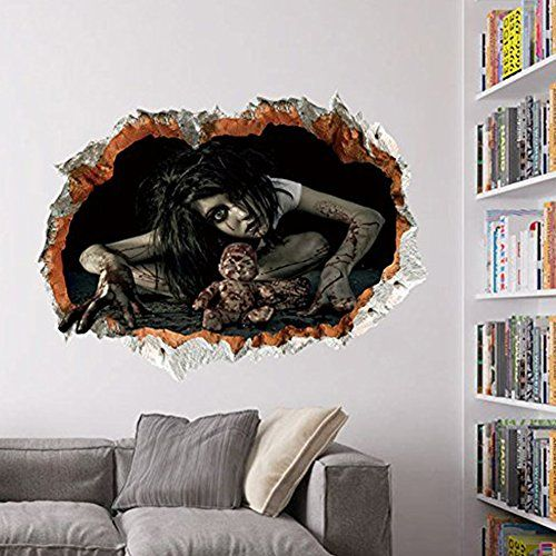 3d female ghost breaking wall halloween decoration 2418 on wall stickers 3d id=32331