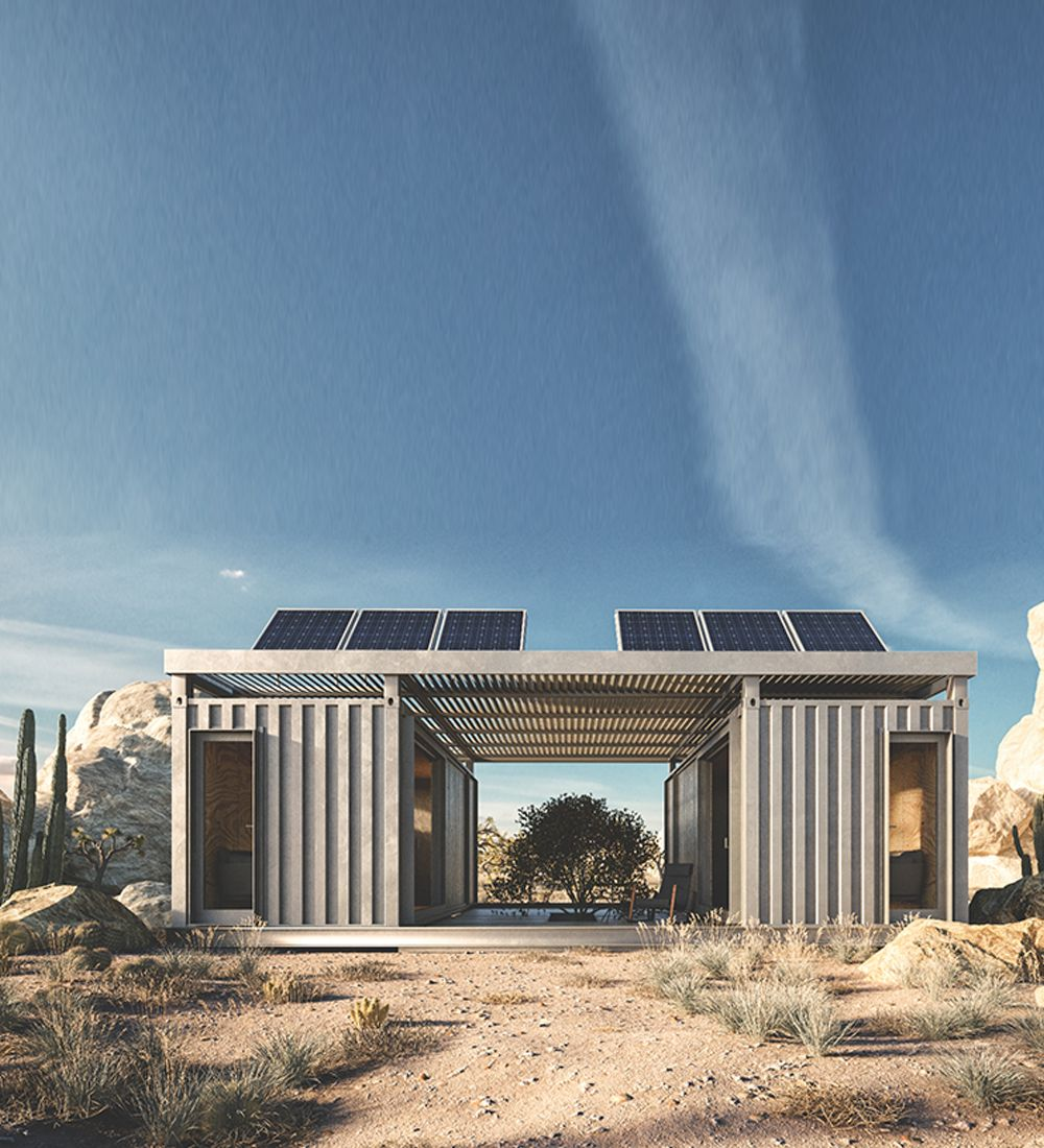 Cargo Shipping Container Homes: Off-grid Container House In The Desert